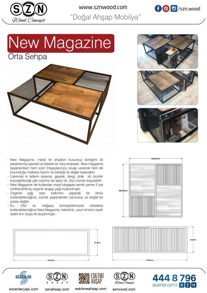 SZN Wood Orta Sehpa New Magazine Siyah Ahşap Kayın Panel W06-Black - -- 100 x 100 x 35 cm