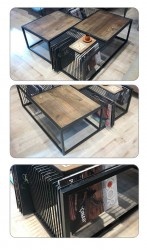SZN Wood Orta Sehpa New Magazine Siyah Ahşap Kayın Panel W06-Black - -- 100 x 100 x 35 cm - Thumbnail