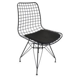 SZN Wood - SZN Wood Sandalye Tel M7 Siyah Deri Siyah - 45cm Oturum 45x54x81cm