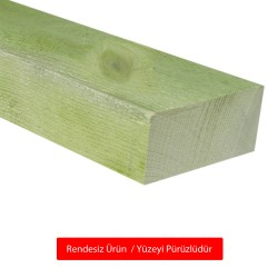 SZN Wood - SZN Wood Ahşap Düz Profil 9,5 x 4,5 Cm LADİN Yeşil Emprenyeli RENDESİZ