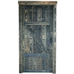SZN Wood - SZN Wood Antik Kapı E-001 W06-Black Ladin 203 x 90 x 14 cm Eskitme SAĞ