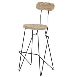 SZN Wood - SZN Wood Bar Sandalyesi Step Ladin Eskitme - Siyah Özel 75cm Oturum 48x48x107cm