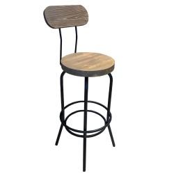 SZN Wood - SZN Wood Bar Sandalyesi Tess Ladin Eskitme - Siyah SZN51-Teak 75cm Oturum 36x36x110cm