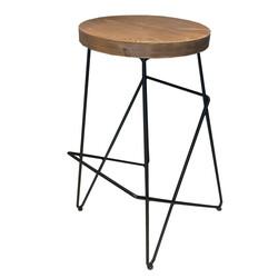 SZN Wood - SZN Wood Bar Taburesi Cafe Ladin Eskitme - Siyah SZN51-Teak 75cm Oturum 49x45x75cm
