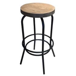 SZN Wood - SZN Wood Bar Taburesi Tess Ladin Eskitme - Siyah SZN51-Teak 75cm Oturum 36x36x75cm