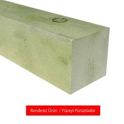 SZN Wood - SZN Wood Ahşap Düz Profil 9,5 x 9,5 Cm LADİN Yeşil Emprenyeli RENDESİZ