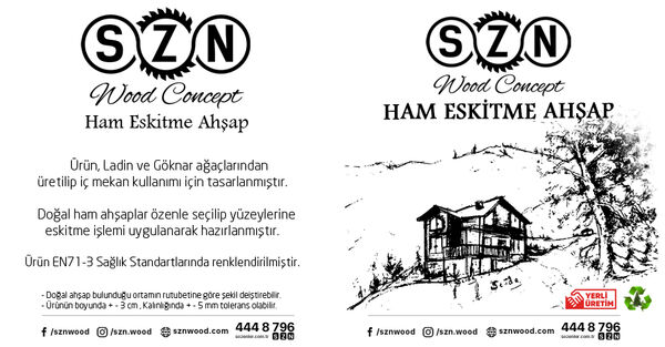 SZN Wood Ham Eskitme Ahşap 13-15cm Ladin 200 x 15 x 2,5 Cm SZN-51-Teak