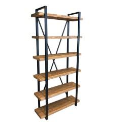 SZN Wood - SZN Wood Kitaplık Gamboz Ladin Eskitme SZN-51-Teak 100 x 34 x 200 cm 6 Raflı --