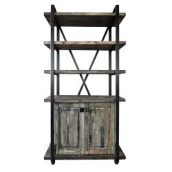 SZN Wood - SZN Wood Kitaplık Hoda Ladin -- W06-Black 100 x 34 x 200 cm 4 Raf 2 Kapak