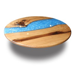SZN Wood - SZN Wood Kütük Masa Kestane Düz Yuvarlak Epoksili 90 x 90 x 2,5 cm
