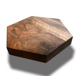 SZN Wood - SZN Wood Kütük Sehpa Ceviz Geniş Ekli Altıgen -- W01-Dark Oak -- -- 40 x 40 x 5,5 cm