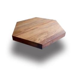SZN Wood - SZN Wood Kütük Sehpa Ceviz Geniş Ekli Altıgen -- W01-Dark Oak -- -- 60 x 60 x 5,5 cm