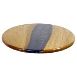 SZN Wood - SZN Wood Kütük Sehpa Kestane Düz Yuvarlak Epoksili 45 x 45 x 2,5 cm