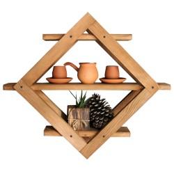SZN Wood - SZN Wood Prizma Ahşap Raf Ladin-Göknar Kendin Yap 59 x 50 x 13 cm SZN51-Teak - - - -
