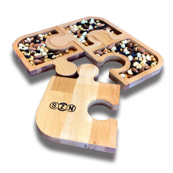 SZN Wood Puzzle Çerezlik Kayın 30x30x1,8cm 4 Parça