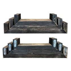 SZN Wood - SZN Wood Raf 3lü Ladin Eskitme SZN-01-Black 60 x 14 x 10 cm