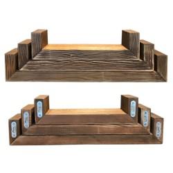 SZN Wood - SZN Wood Raf 3lü Ladin Eskitme SZN-92-Wenge 60 x 14 x 10 cm