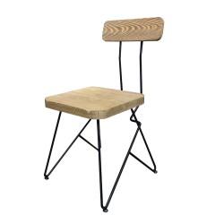 SZN Wood - SZN Wood Sandalye Cafe Ladin Eskitme - Siyah SZN51-Teak 48cm Oturum 48x48x82cm
