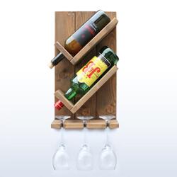 SZN Wood - SZN Wood Vinto Şaraplık Ladin-Göknar Kendin Yap 27 x 49 x 11 cm SZN92-Wenge - - - -
