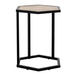SZN Wood - SZN Wood Zigon Sehpa Honwal Siyah Eskitme Ahşap Çam Panel SZN51-Teak - -- 45 x 45 x 51 cm
