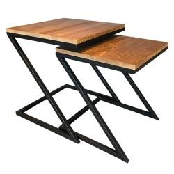 SZN Wood - SZN Wood Zigon Sehpa Z Siyah Ahşap Çam Panel SZN51-Teak - İkili 45 x 45 x 50 cm